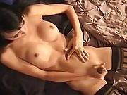Tranny strokes and cums
