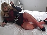 smoking transvestite in red lingerie
