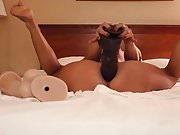 Tranny pounds herself with BBC dildo