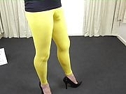 Transsexual in yellow tight leggings