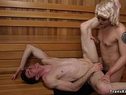 Tranny in sauna anal fucks dude
