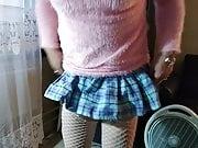 Pink Sweater & Schoolgirl Skirt 9