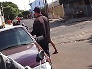 Shemale naked in the street