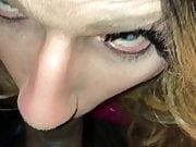 Sexy cross dresser sucking BBC